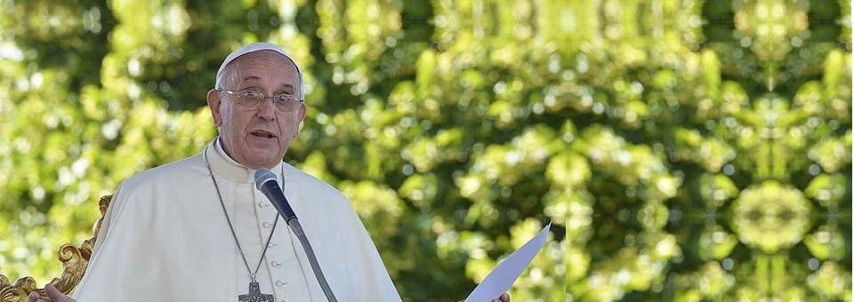 """Francisco diz que """"romper a comunhão com a natureza é romper com Deus""""."""